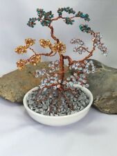 UNIQUE GLASS BEADED WIRE TREE SCULPTURE BY PROF ARTIST DSWT104 GIFT XMAS MUM