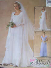 OOP Bridal DRESS wedding GOWN misses 4-8 classic square neck train sleeves flowy