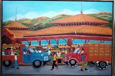 "Haitian Folk Art Painting by Rony Leonidas Cap Haitien Market scene 36""X24"" rare"