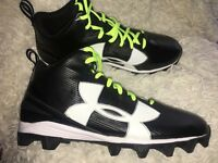 Under Armour UA 001 Crusher RM Black Football Cleats Men's Z US 13 NEW