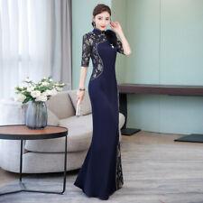 Chinese Womens Style Lace Splice Satin Cheongsam Dress Slim Side Split Ball Gown