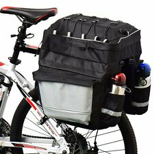 3in1 Waterproof Cycling Bike Bag Bicycle Rear Rack Pannier Seat Bag Rack-Black