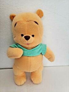 Fisher Price Baby Winnie the Pooh  2001 Green Shirt Rattle Plush Stuffed Animal