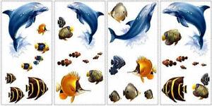 UNDER SEA wall stickers 24 decals dolphins fish ocean beach bathroom decor