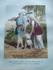 ANTIQUE PRINT C1870'S MAN GOETH FORTH BROWN'S HOLY BIBLE RELIGION ENGRAVING ART