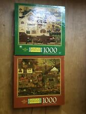 Lot Of 2 Charles Wysocki Jigsaw Puzzles 1000 Pieces Hasbro Great All Complete