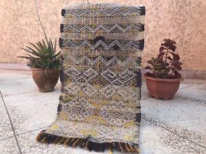 "Moroccan rug carpet Handmade old Vintage Berber Tribal Kilim Wool beni 2'6""x1'1"""