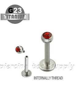 "16G 5/16"" G23 Titanium Internally Threaded 3mm Press Fit Gem Top Labret Stud"