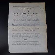 1794 DÉCRET DE LA CONVENTION NATIONALE PORTANT SUR LES ARMÉES MOSELLE / RHIN