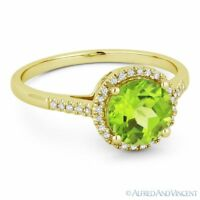 1.52ct Round Cut Natural Peridot & Diamond Halo Promise Ring in 14k Yellow Gold