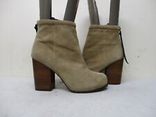 Jeffrey Campbell Rumble Beige Suede Leather Zip High Heel Ankle Boots Size 10 M