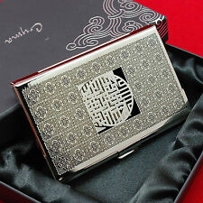 Delicate Buddhist cross pattern business card case metal ID card holder