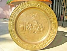 """Vintage Extra Large Hammered Brass Tray Wall Decor Metalware 3-D, 23"""" Pub Scene"""