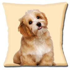 "CUTE LHASA APSO PUPPY DOG PHOTO PRINT BROWN ON CREAM 16"" Pillow Cushion Cover"