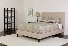 Roxbury Full Size Tufted Upholstered Platform Bed in Beige Fabric New