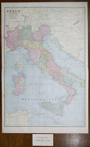 "Vintage 1903 ITALY Map 14""x22"" Old Antique Original CORSICA SARDINIA SICILY ROME"