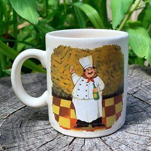 'FAT HAPPY ITALIAN CHEF W/ WINE & MUSTACHE' mug - 5 dollar mugs (5dms) ($5 mugs)