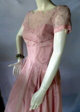 ORIGINAL 1950s Vintage Dress Pink Lace & Matching Hat Prom Party Wedding Small
