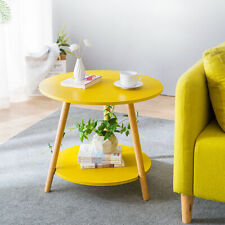 Yellow 2 Tier Sofa Coffee Side Table End Table Round Storage Shelf Living Room