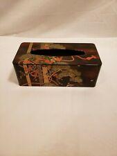 Vintage Black Asian Design Tissue Box Cover, Plastic, Red, Gold & Green Flowers