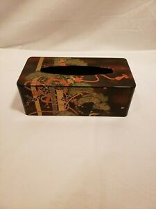 Vintage Black Asian Design Tissue Box Cover, Plastic, Red, Gold & Green Flowers