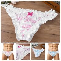 Sissy Men Satin Frilly Bikini Briefs Crossdress Bloomer Ruffled Lace Underwear