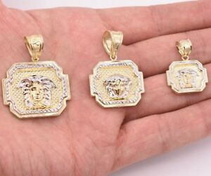 Men's Medusa Medallion Diamond Cut Pendant Charm Real 10K Yellow White Gold