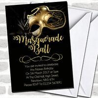 Golden Glitter Mask Masquerade Ball Party Invitations