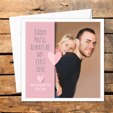 Personalised Happy Valentines Day Daddy Photo Card Kisses Cuddles First Love