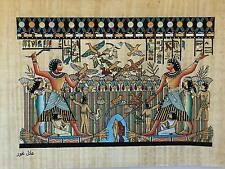 New Hand Painted Egyptian Art on Papyrus: Nebamun hunting and fishing boat A12
