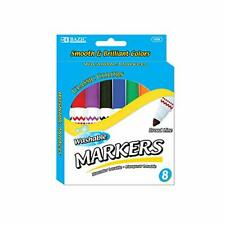 Bazic 8 Colors Broad Line Jumbo Washable Markers Pens, Assorted Classic Color.
