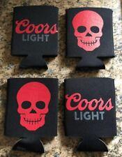 (L@@K) Coors Light Beer Bottle Can Koozie Coozie Red Skull Lot Of 4 Game Room
