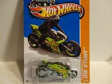 2013 Hot Wheels #99 Lime Green Canyon Carver Motorcycle
