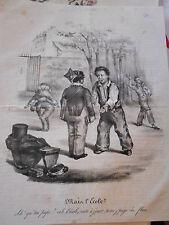 Caricature Litho 19ème Main l'école ? Récréation cours de l'école