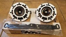 Pair Hella Supertone Horns (White) with Perrin Mounting Bracket. 08-14 WRX/STI