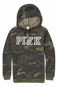Victoria's Secret Pink Everyday Campus Hoodie Color Green Camo NWT
