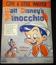 1940 Sheet Music Give A Little Whistle Disney Pinocchio Decorative Art Original