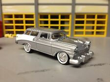 1/64 56 Chevy Bel Air Nomad Wagon in Silver/White-Gray Int with Rubber Wide WW
