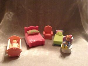 Fisher Price and Mattel Dolls and Furniture x 7 Pieces