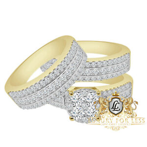 Real Yellow Gold Sterling Silver Simulated Diamond Bride Groom Wedding Rings Set