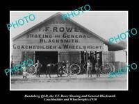 OLD LARGE HISTORIC PHOTO OF BUNDABERG QLD, THE ROWE BLACKSMITH WORKS c1910