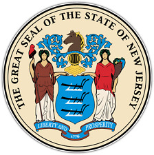 "New Jersey State USA Seal Car Bumper Window Locker Vinyl Sticker Decal 4.6""X4.6"""