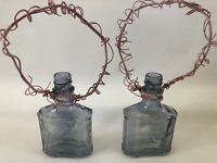 Medicine Bottles with Wire Handles Flower Vintage Look Holders Farmhouse Rustic