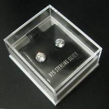 Plata Esterlina - 5 mm de circonio cúbico-Stud Cristal pendientes-En Caja
