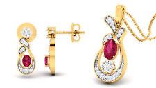 Pave 1,91 Cts Natürliche Diamanten Rubin Anhänger Ohrringe In Feine 14K Gelbgold