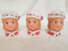 3 Vintage Girl Doll Head Christmas Light/Ornament Covers Blue Eyes/Freckles
