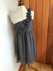 frock and frill grey feather effect baby doll dress uk 10 bnwt