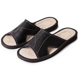 MEN BLACK 100% LEATHER SLIPPERS MULES SLIPON OPEN TOES SANDALS SHOES ORTHOPEDIC