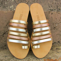 Womens Strappy Toe Ring Gold, Silver, Embossed Rose Gold Leather Sandals