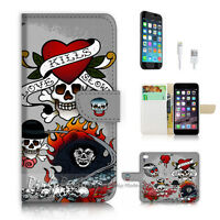( For iPhone 7 Plus ) Wallet Case Cover P2585 Skull